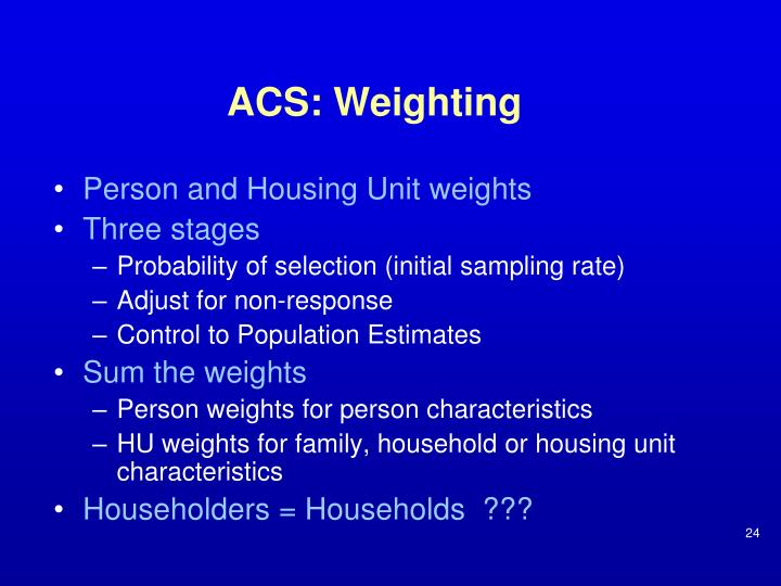 ACS: Weighting