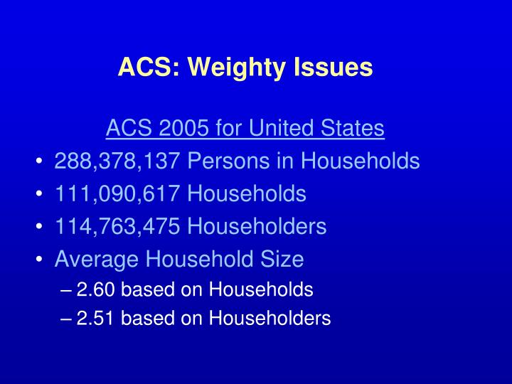 ACS: Weighty Issues