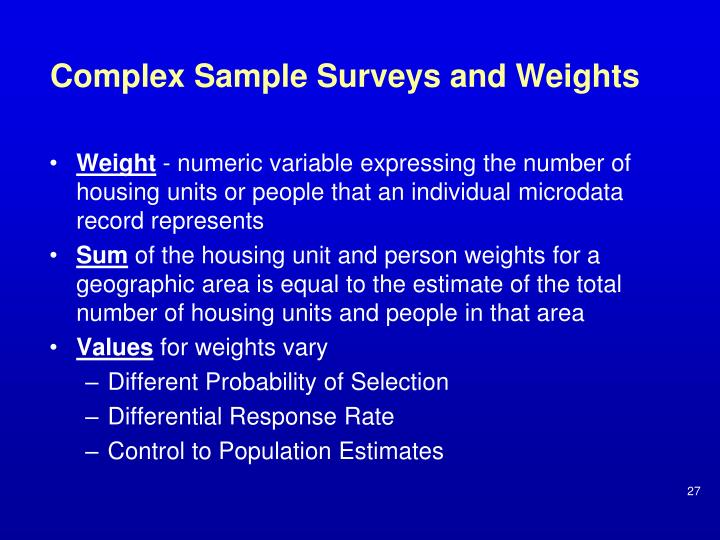Complex Sample Surveys and Weights