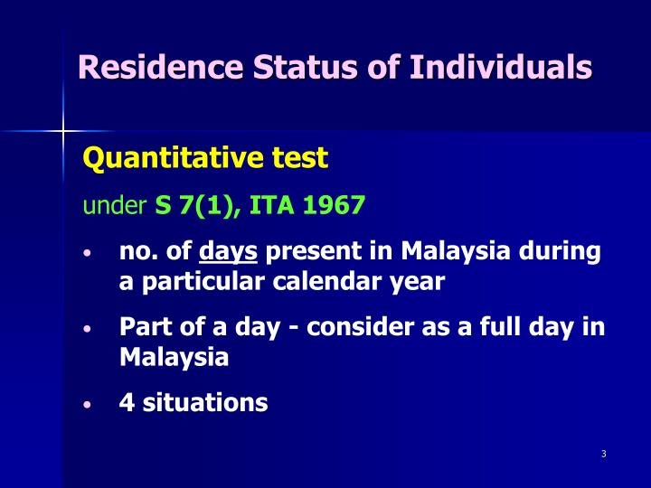 Residence Status of Individuals