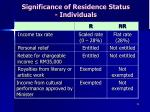 significance of residence status individuals