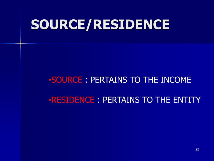 SOURCE/RESIDENCE