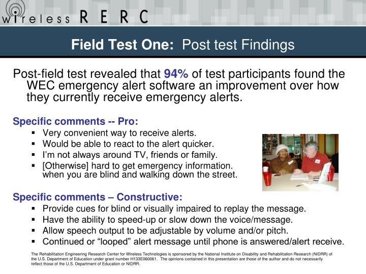 Field Test One: