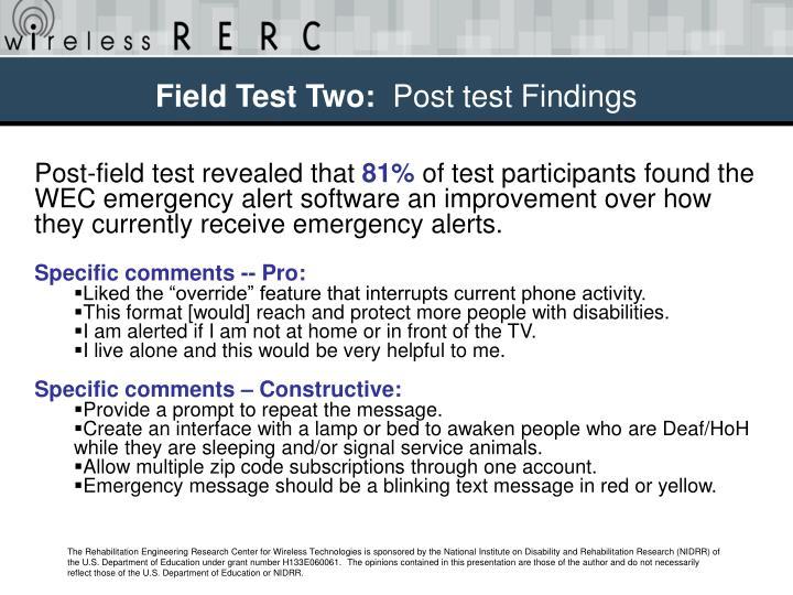Field Test Two: