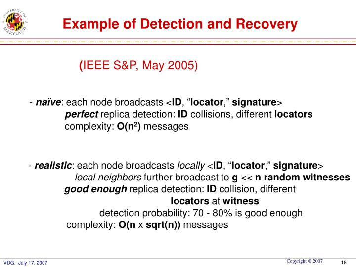 Example of Detection and Recovery