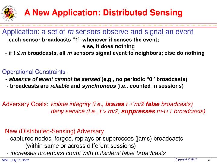 A New Application: Distributed Sensing