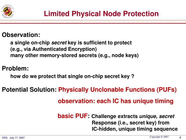 Limited Physical Node Protection