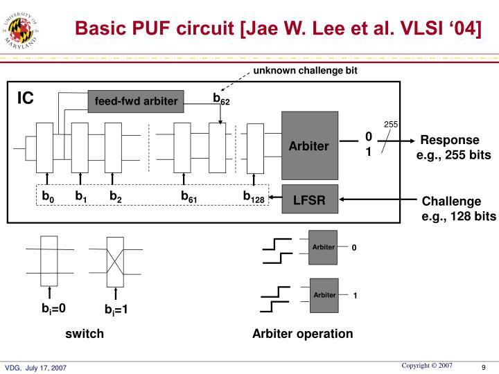 Basic PUF circuit [Jae W. Lee et al. VLSI '04]