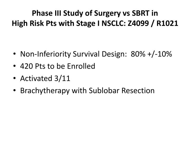 Phase III Study of Surgery vs SBRT in