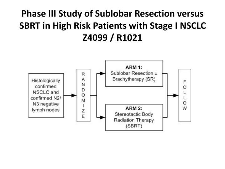 Phase III Study of Sublobar Resection versus SBRT in High Risk Patients with Stage I NSCLC