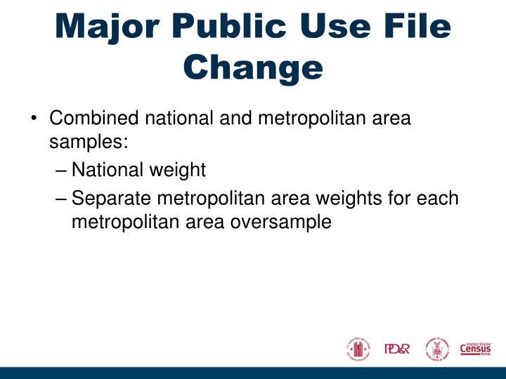 Major Public Use File Change