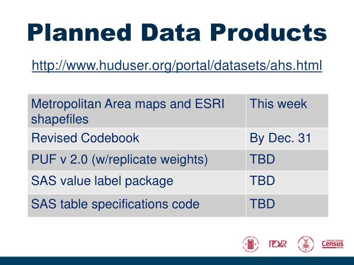 Planned Data Products