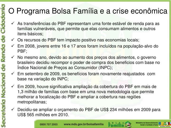 O Programa Bolsa Família e a crise econômica