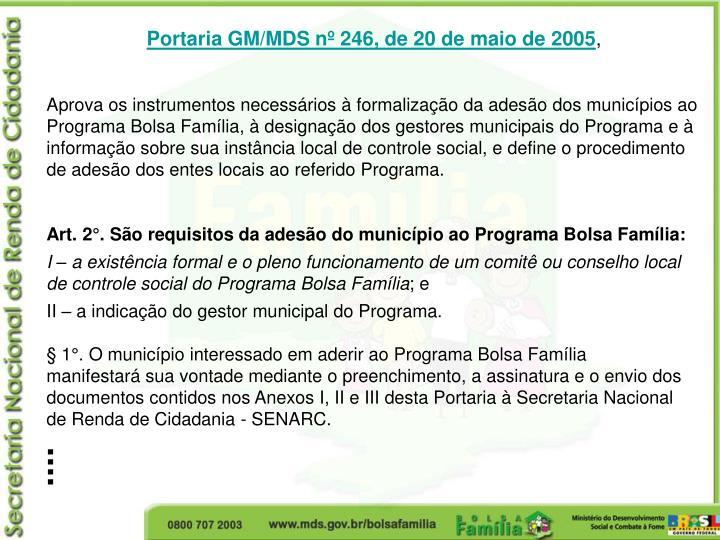 Portaria GM/MDS nº 246, de 20 de maio de 2005