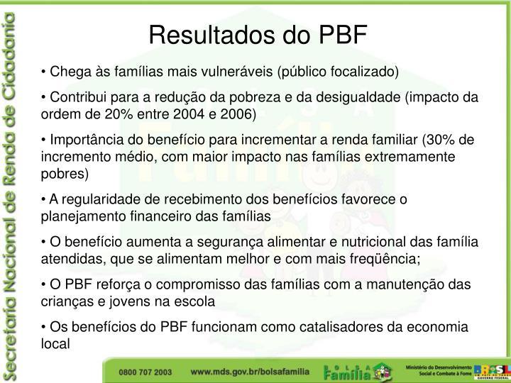 Resultados do PBF