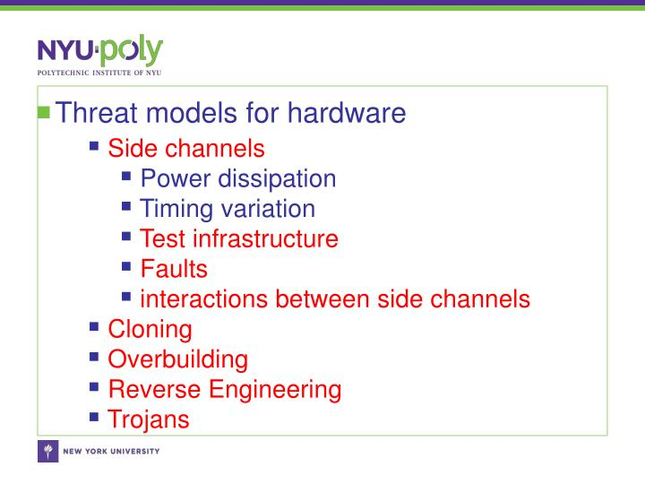 Threat models for hardware