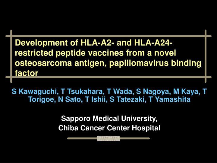 Development of HLA-A2- and HLA-A24-restricted peptide vaccines from a novel osteosarcoma antigen, papillomavirus binding factor