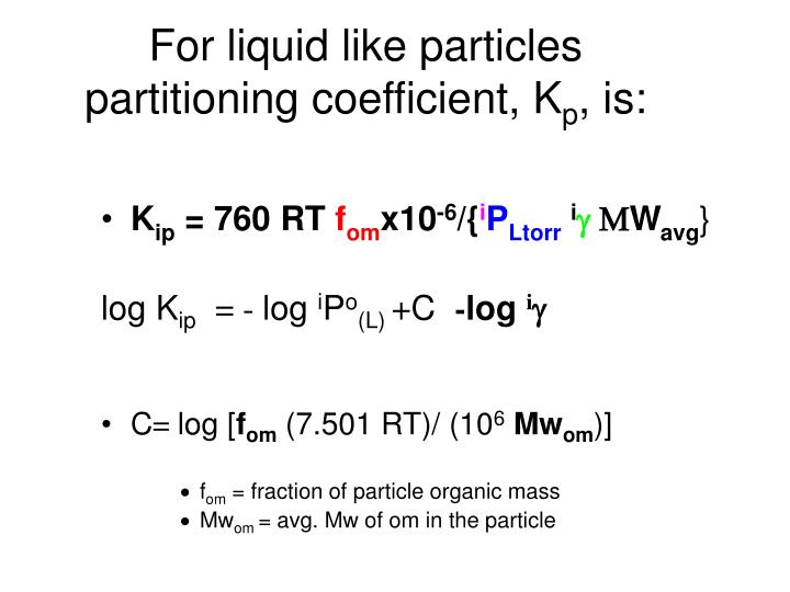 For liquid like particles partitioning coefficient, K