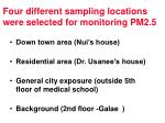 four different sampling locations were selected for monitoring pm2 5