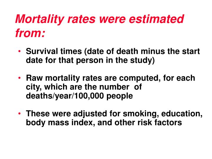 Mortality rates were estimated from: