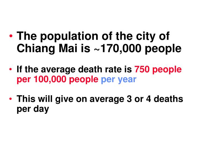 The population of the city of Chiang Mai is ~170,000 people