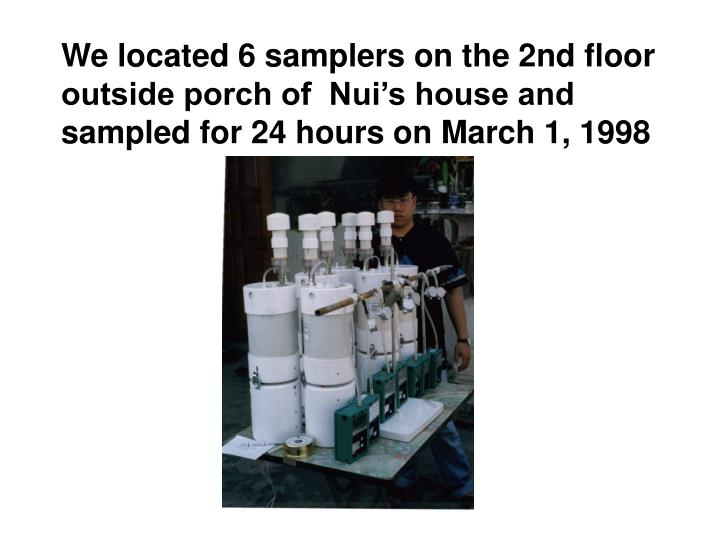 We located 6 samplers on the 2nd floor outside porch of  Nui's house and sampled for 24 hours on March 1, 1998