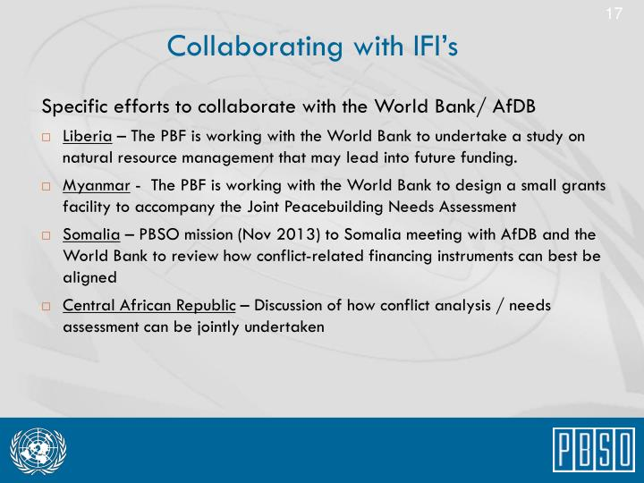 Collaborating with IFI's
