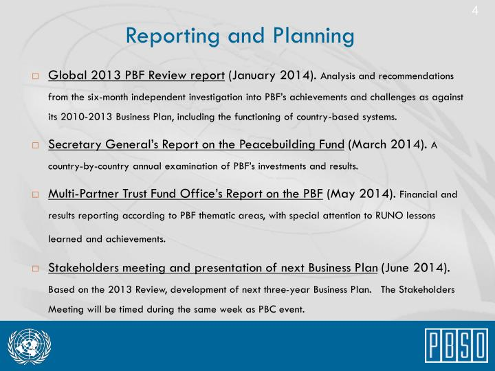 Reporting and Planning