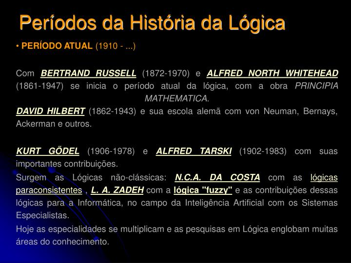 Períodos da História da Lógica