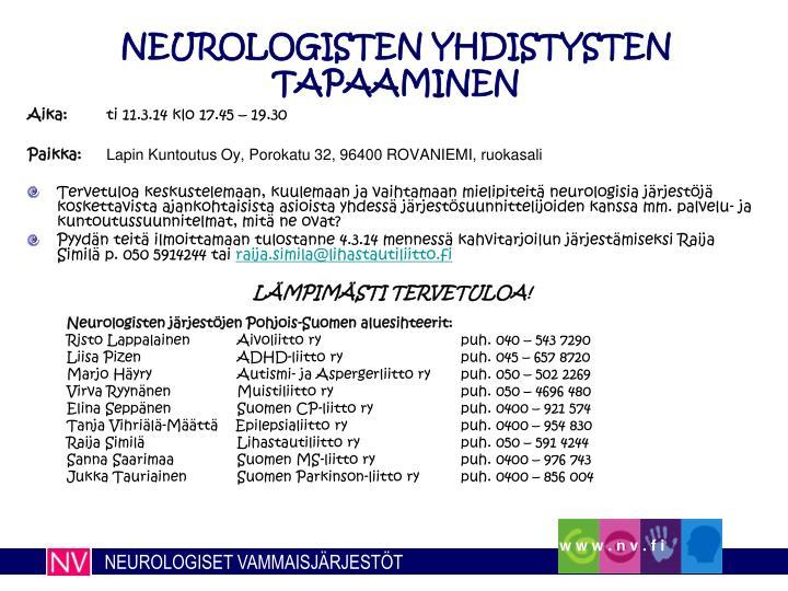 neurologisten yhdistysten tapaaminen