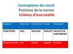 conceptions du social positions de la norme crit res d anormalit