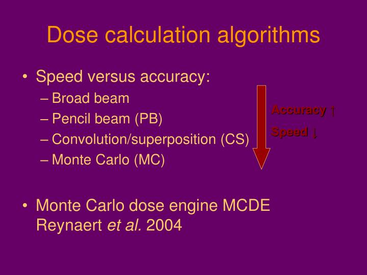 Dose calculation algorithms