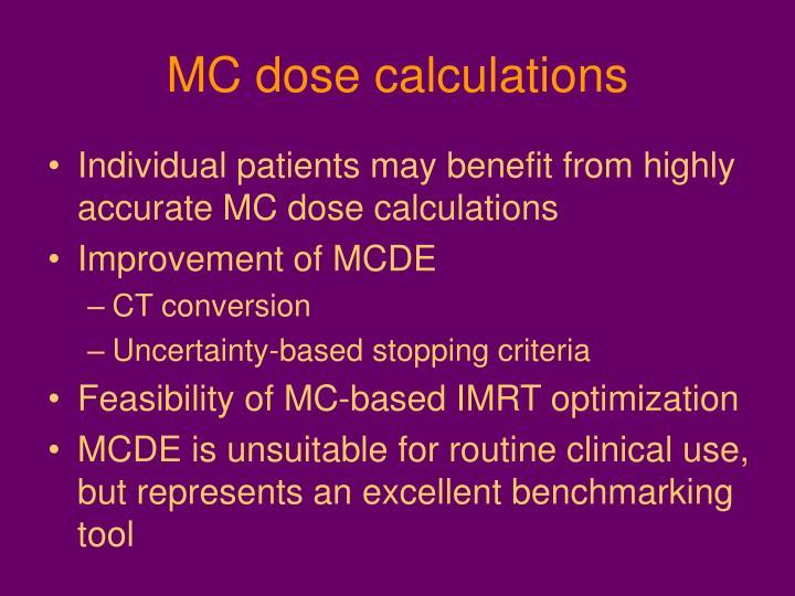 MC dose calculations