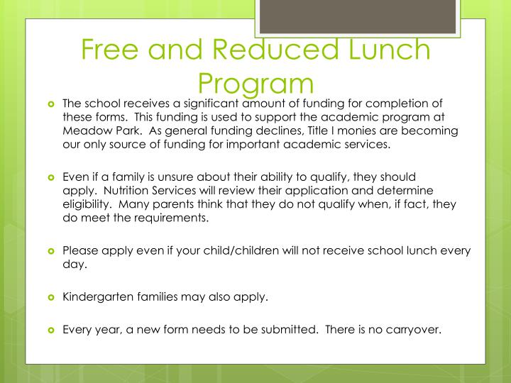 Free and Reduced Lunch Program