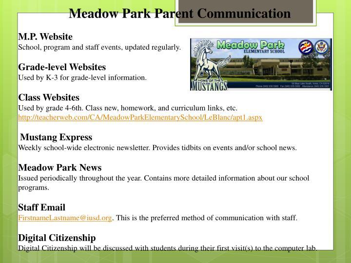 Meadow Park Parent Communication