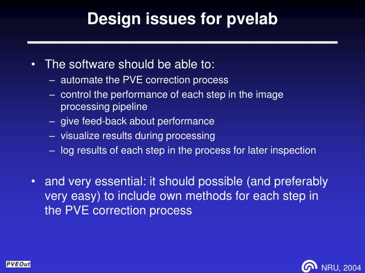 Design issues for pvelab