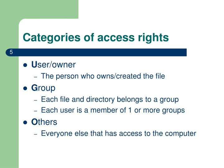 Categories of access rights