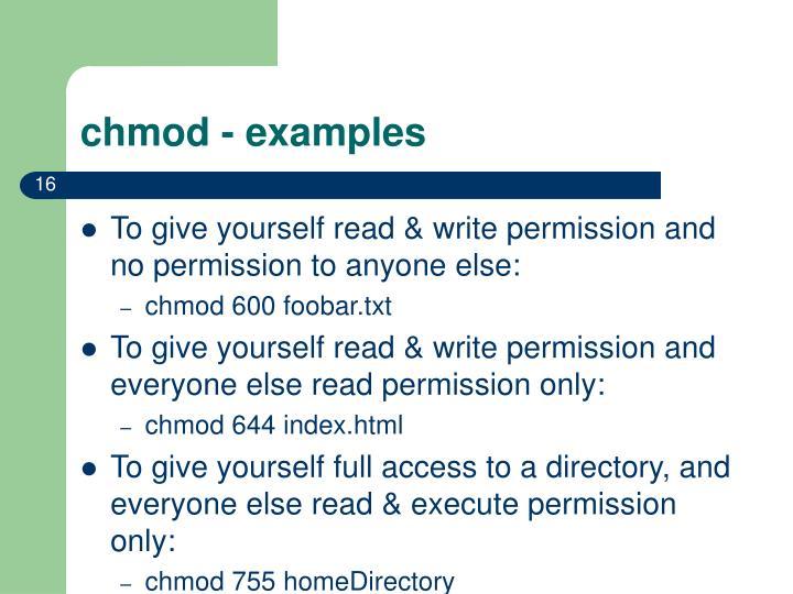 chmod - examples