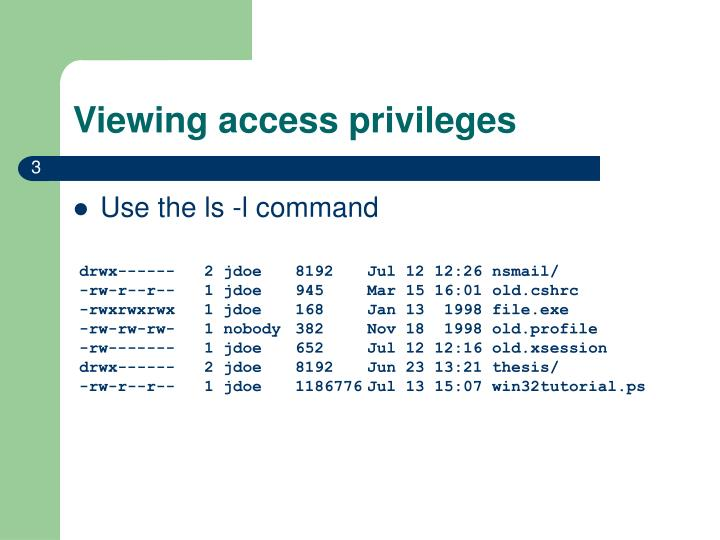 Viewing access privileges