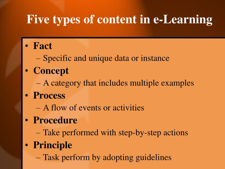Five types of content in e-Learning