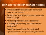 how can you identify relevant research