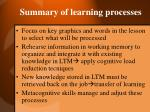 summary of learning processes