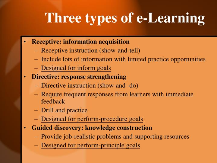 Three types of e-Learning