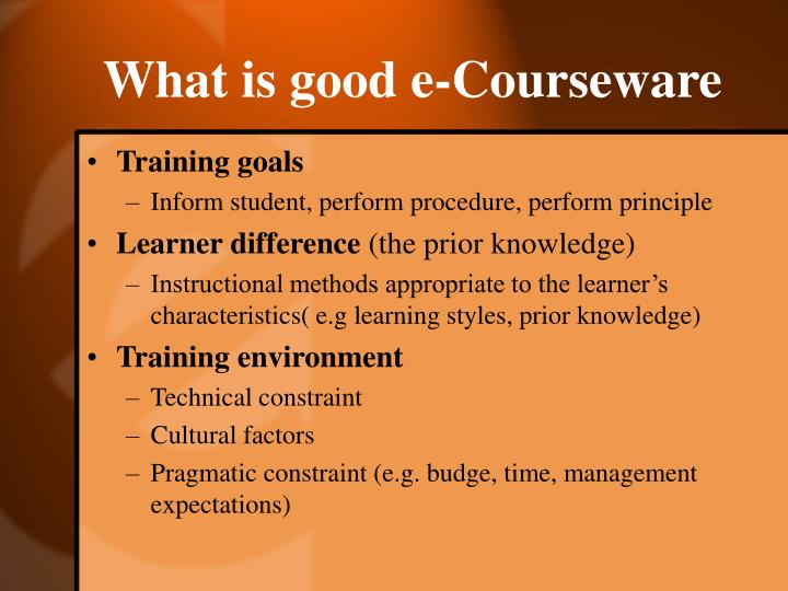 What is good e-Courseware