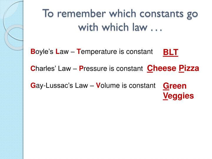 To remember which constants go with which law . . .