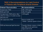 tasc ii recommendations for lipid control in patients with peripheral arterial disease
