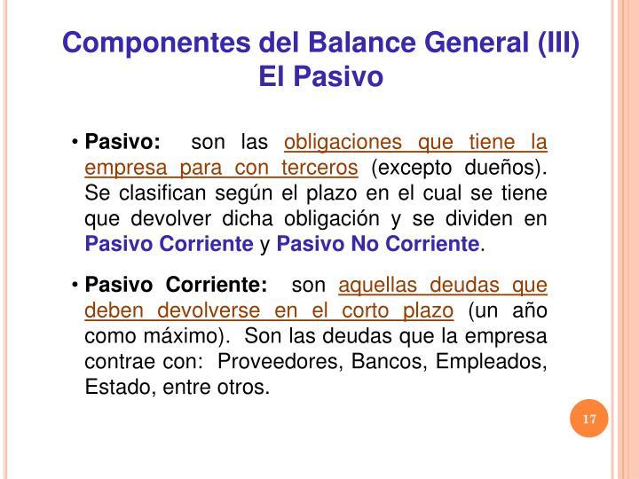 Componentes del Balance General (III)