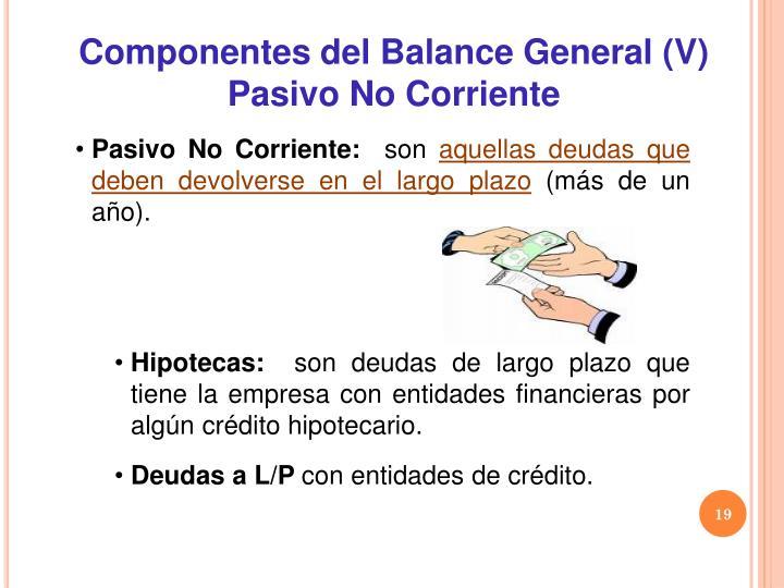 Componentes del Balance General (V)