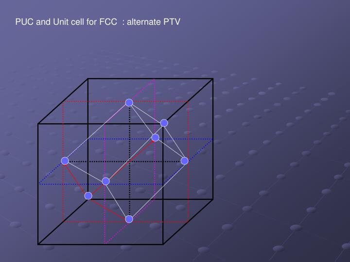 PUC and Unit cell for FCC  : alternate PTV
