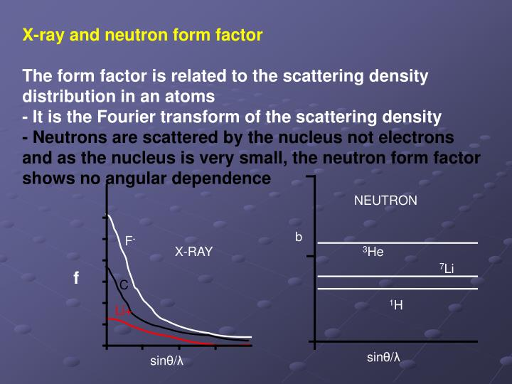 X-ray and neutron form factor